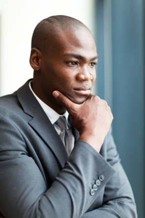 thoughtful african american businessman